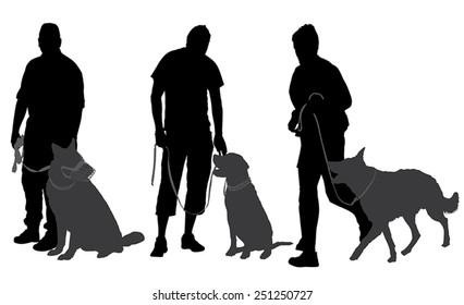Man walking his dog Silhouette on white background