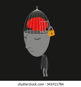 Man walking with locked brain feeling depressed