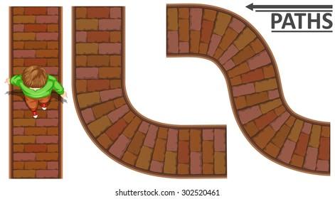 Man walking on brick path illustration