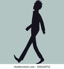 Man walking on street on grey vector background