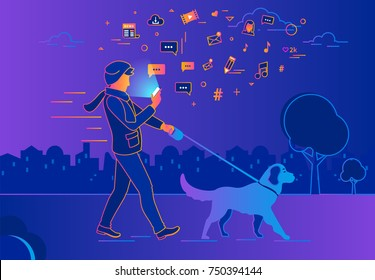 Man walking outdoors with dog in the evening using smartphone to read news and texting in social networks. Gradient line vector illustration of people addiction to network and wasting time in internet