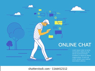 Man walking in park using smartphone to send messages in social media. Flat vector illustration for website and landing page design of people addicted to online chat, network, likes and reposting news