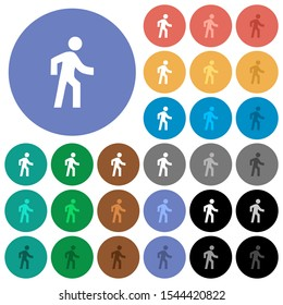 Man walking right multi colored flat icons on round backgrounds. Included white, light and dark icon variations for hover and active status effects, and bonus shades.