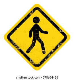 Man walking , road sign. Grungy, worn style