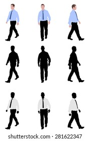 man walking silhouettes and illustration