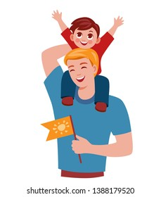 man walks with a child. dad carries his son on his shoulders. the boy rejoices on his father's shoulders