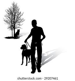 Man walks with dog