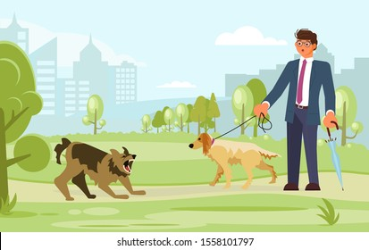 A man walks with a dog in the park. They were attacked by an aggressive, mongrel mongrel. Flat Art Vector illustration