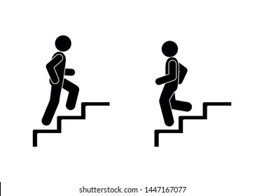 man walks up and down the stairs, stick figure pictograms people, human silhouette, set of icons