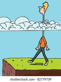 Man walks toward a ledge with long neck in clouds