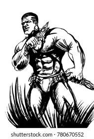 Man warrior. Graphic sketch
