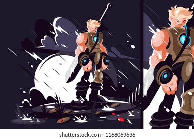 Man warrior with sword and armor. Game hero on battlefield. Vector illustration