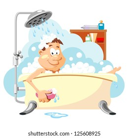Man washes in the bathroom. Taking a shower. Vector picture on personal hygiene.