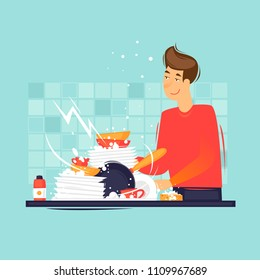 Man washes dirty dishes. Flat design vector illustration.