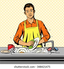 Man washes dishes pop art style vector illustration. Comic book style imitation