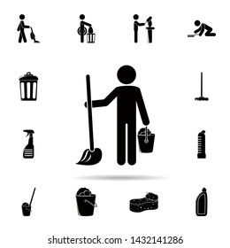 Man washes floors icon. Universal set of cleaners for website design and development, app development