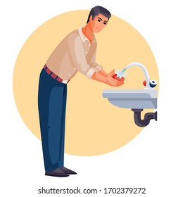man washes his hands under running water, vector illustration,