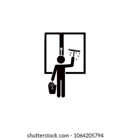 the man washes the windows icon. Element of cleaning and cleaning tools illustration. Premium quality graphic design icon. Signs and symbols collection icon for websites on white background