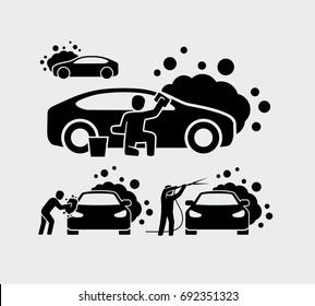 Man washing car vector icons