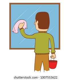 a man washing a mirror