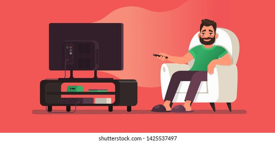 Man watches TV while sitting in a chair. View your favorite television show or movie. Vector illustration of cartoon style