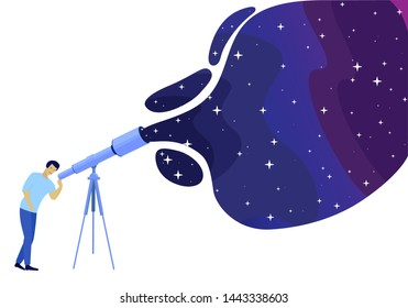Man Watching Night Starry Sky through Telescope. Astronomy Science Hobby, Isolated Illustration. Guy Looking at Stars and Constellations Using Optical Tool with Zoom. Flat Vector Cosmic Space Cartoon
