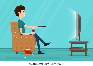 Man watching television on armchair. Tv and sitting in chair, drinking and eating. Vector flat illustration