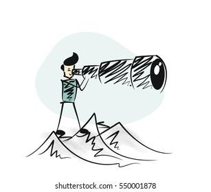 Man watching through telescope top of mountain. Hand Drawn Skech Cartoon Vector Background.