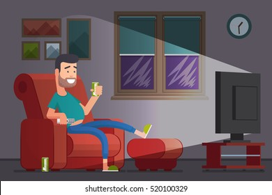 Man watching TV and drinking beer. Lazy slacker in the chair watch television. Vector illustration