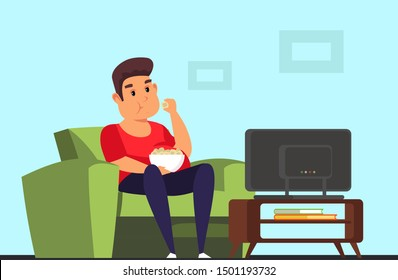 Man watching TV flat vector illustration. Lazy overweight guy relaxing at home. Unhealthy lifestyle. Bad habits. Obese male color cartoon character sitting on couch and eating junk food