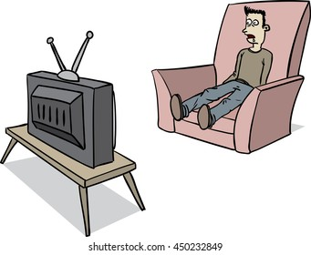 A man is watching tv. He is literally hypnotized by it. One could say brainwashed.