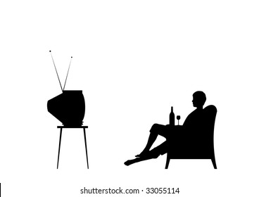 Man is watching tv. Isolated on the white background.
