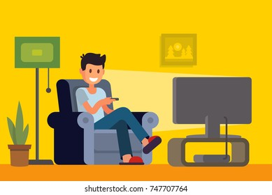 Man watching TV on sofa in home interior. Vector flat
