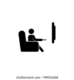 The man is watching TV. A man sits on the sofa and watches a television program icon. Media element icon. Premium quality graphic design. Signs, outline symbols collection icon on white background