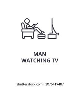 man watching tv thin line icon, sign, symbol, illustation, linear concept, vector