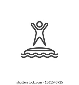 Man in water park trampoline line icon. linear style sign for mobile concept and web design. Summer aquapark trampoline outline vector icon. Symbol, logo illustration. Pixel perfect vector graphics
