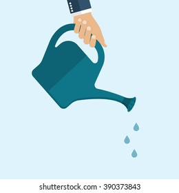 Man watering with a watering can. Vector Illustration flat design. Drops of water falling from a watering can.