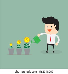 Man watering money tree, Financial Growth Flat Concept.