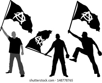 man with waving flag of Anarchy