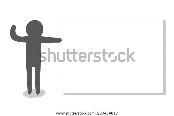 A man waving hand beside a whiteboard, vector illustration