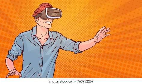 Man Wear Modern 3d Glasses Virtual Reality Concept Pop Art Style Background Vector Illustration
