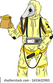 a man wearing anti nuclear radioation clothing cartoon