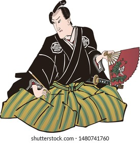 A man wearing a black kimono with a fan pointing to the left