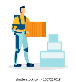 Man Wearing Exoskeleton Flat Vector Illustration. Cartoon Loader, Moving Service Worker, Courier Carrying Boxes Isolated Character. Engineering Innovations, Technology Facilitating Human Labor