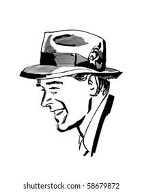 Man Wearing Fedora - Retro Clip Art