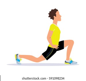 Man wearing fitness outfit doing deep lunge exercise. Vector illustration.