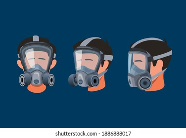Man wearing full face respirator mask. protective equipment for gas and dust pollution symbol icon set concept in cartoon illustration vector