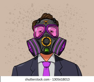 A man wearing a gas mask to resist bad air City Building and dust vector illustration