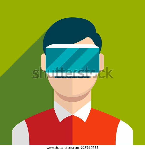 man wearing head-mounted display flat icon with long shadow