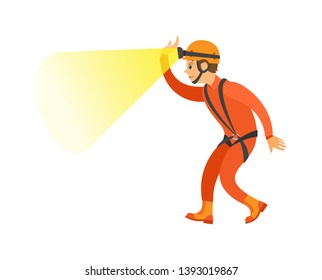 Man wearing helmet with light, male in orange suit with insurance, side and full length view of person, element of extreme or dangerous activity vector